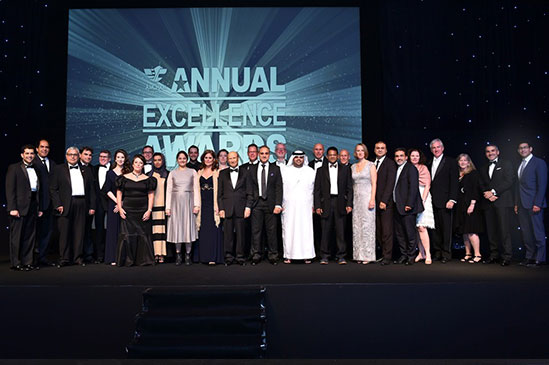 The 6th AmCham Abu Dhabi Excellence Awards Winners, Nominees, Sponsors, VIPs and AmCham Abu Dhabi Falcon Members and Board Members.